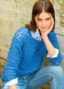 Синий ажурный пуловер из кашемира. Крючок