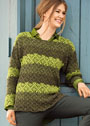 Пуловер в зеленых тонах с кружевным узором. Крючок