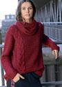 Свободный теплый пуловер с косами и воротником-снудом. Крючок