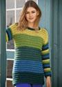 Пуловер с разноцветными полосами разной ширины. Крючок