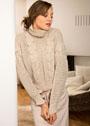 Свободный сетчатый пуловер с косами. Крючок