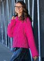 Розовый пуловер с крупными косами. Крючок