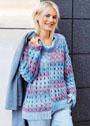 Асимметричный пуловер с ажурными косами. Крючок