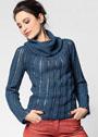 Синий пуловер с кокеткой и объемным воротником. Крючок