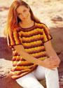 Хлопковый пуловер с волнистыми полосками. Крючок