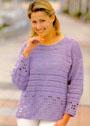 Сиреневый пуловер с ажурной каймой. Крючок