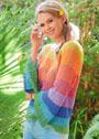 Радужный пуловер с расклешенными рукавами. Крючок
