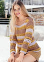 Летний пуловер с сочетанием узоров и цветов. Крючок