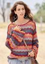 Летний пуловер с разноцветными полосами ажурного узора. Крючок