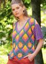 Пуловер с ромбами в стиле пэчворк. Крючок и спицы