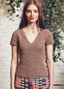 Летний светло-коричневый пуловер с короткими рукавами. Крючок