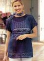 Синий хлопковый пуловер с ракушками и сердечками. Крючок