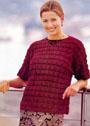 Бордовый пуловер с узором Ракушки. Крючок