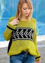 Оливковый пуловер с черно-белой жаккардовой полосой. Крючок