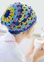 Ажурная шапочка радужной расцветки. Крючок