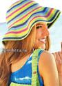 Летняя полосатая шляпа с широкими полями. Крючок