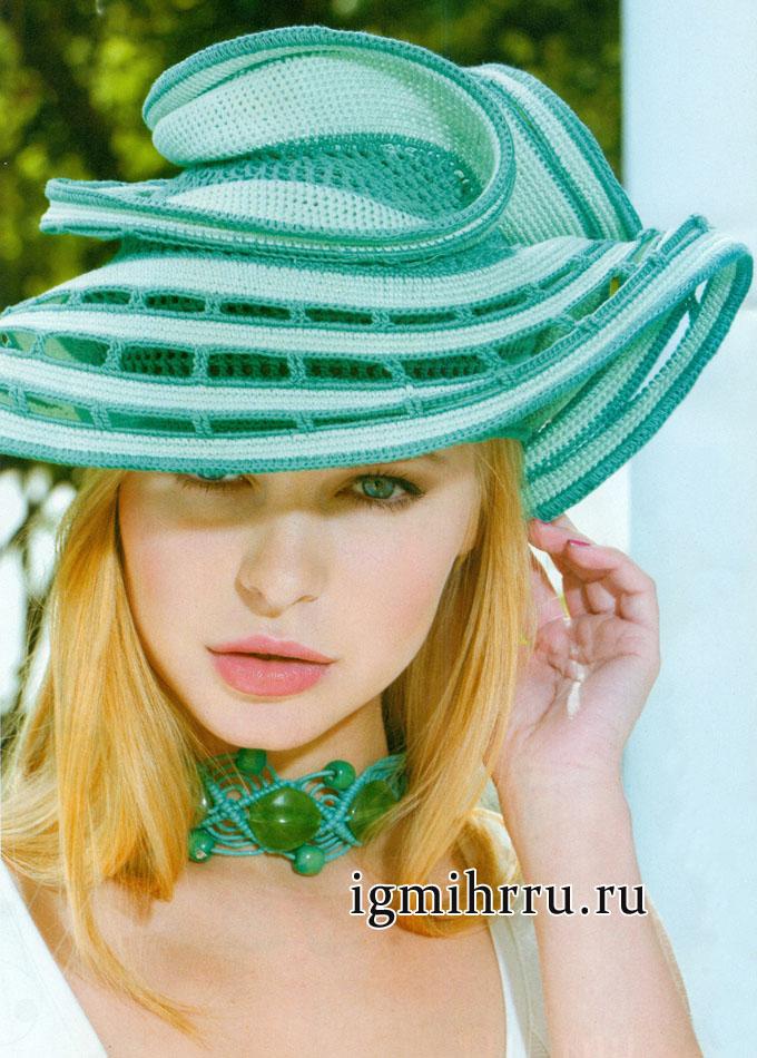 Эффектная шляпа в бирюзовых тонах. Вязание крючком