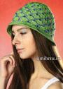 Зеленая летняя шляпка с синими вставками. Крючок