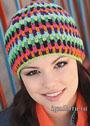 Разноцветная шапочка бини. Крючок