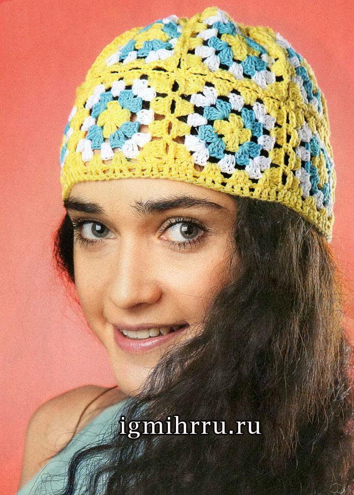 Летняя шапочка из разноцветных квадратов. Вязание крючком