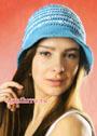 Бело-голубая летняя шляпка. Крючок