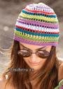 Летняя шапочка с ажурными узорами. Крючок