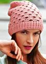 Розовая кашемировая шапочка с фантазийным узором. Крючок
