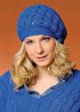 Синяя шапочка с плетеным узором. Крючок