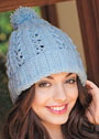 Голубая шапка с ажурным узором. Крючок