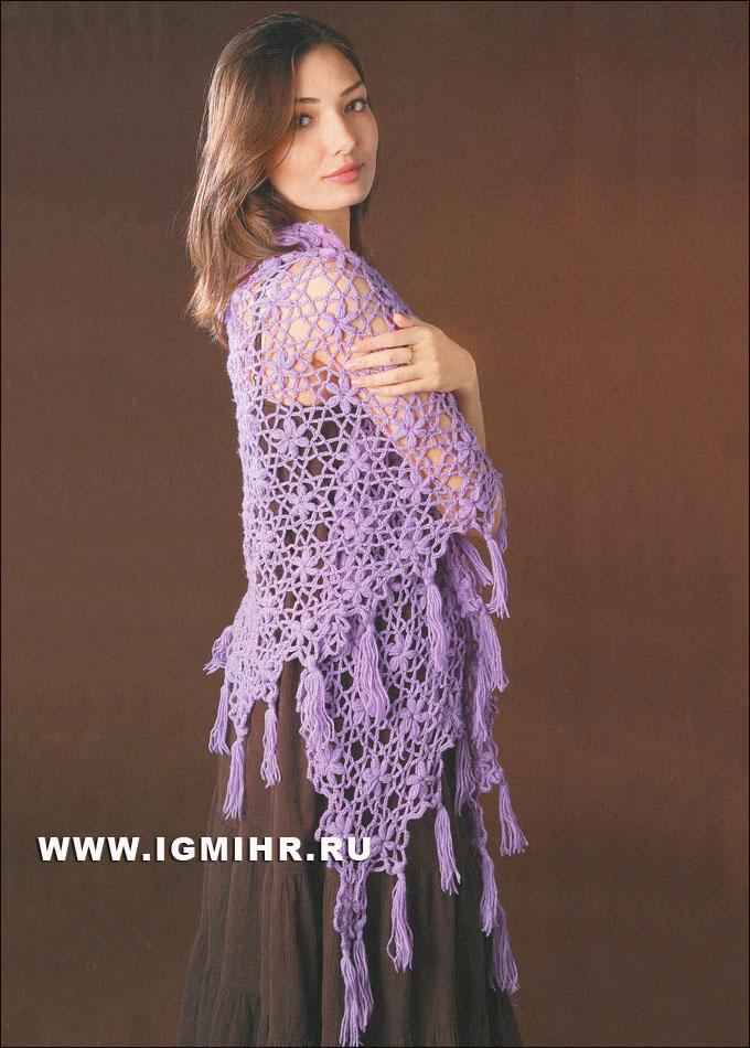 Сиреневая шаль с цветочными мотивами. Крючок