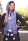 Сиреневый шарф-капюшон с узором Паучки. Крючок