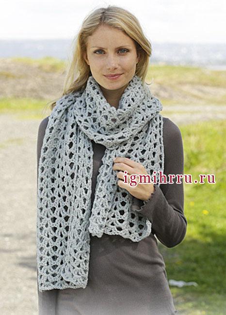 Серо-зеленый ажурный шарф из мериносовой шерсти, от Drops Design. Крючок