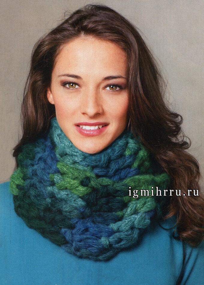 Свяжем быстро модный шарф-хомут. Вязание крючком