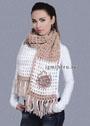 Бело-бежевый шарф с цветком. Крючок