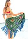 Для пляжа. Яркий платок-парео с цветами и длинными кистями. Крючок