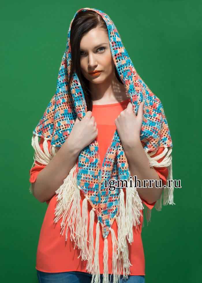 Теплая меланжевая шаль с бахромой, от финских дизайнеров. Вязание крючком