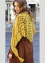 Теплая золотисто-желтая шаль с узором из ромбов. Крючок