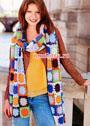 Длинный яркий шарф из квадратных мотивов. Крючок