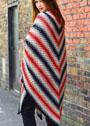 Большая шаль в разноцветную полоску. Крючок