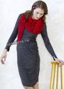 Красный ажурный платок-бактус. Крючок