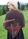 Теплая шаль с цветочными мотивами. Крючок