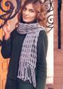 Серый шарф с длинной бахромой. Крючок