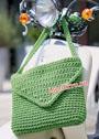 Прямоугольная зеленая сумка из толстой пряжи. Крючок