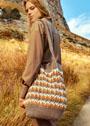 Большая трехцветная сумка с узором из рельефных столбиков. Крючок