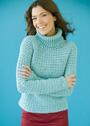 Бирюзовый свитер с фантазийным узором. Крючок