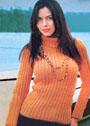 Оранжевый свитер с дорожками из рельефных столбиков. Крючок