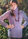 Сиреневый свитер с узорами из рельефных столбиков. Крючок