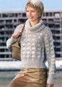 Песочный свитер с веерным узором. Крючок