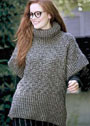 Серый меланжевый свитер-пончо с плетеным узором. Крючок