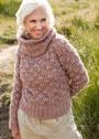 Серо-розовый свитер с узором из пышных столбиков. Крючок